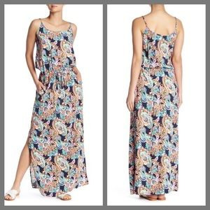 Tommy Bahama Paisley Navy Sleeveless Maxi Dress